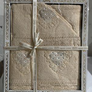 Набор махровых полотенец Sikel кружево Love кремовый 30×50|50×90|70×140