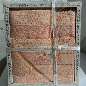 Набор махровых полотенец Sikel кружево Verona персиковый 30×50|50×90|70×140