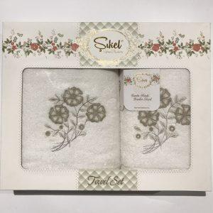 Набор махровых полотенец Sikel 3D Lux Daisy 50×90|70×140