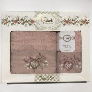 Набор махровых полотенец Sikel 3D Lux Marisella пудра 50×90|70×140