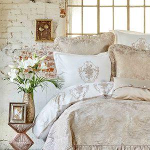 купить Покрывало с наволочками Karaca Home Fioretta 2019-2 pudra Бежевый фото