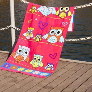 Полотенце пляжное Vende велюр Owls 75×150