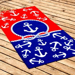 Полотенце пляжное Vende велюр Red & Blue 75×150