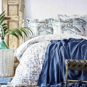 Постельное белье с пледом Karaca Home Vella mavi 2020-1 200×220