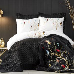Постельное белье с покрывалом и пледом Karaca Home Grace siyah 2019-2 200×220