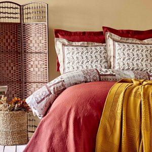 Постельное белье с покрывалом и пледом Karaca Home Maryam bordo 2020-1 200×220