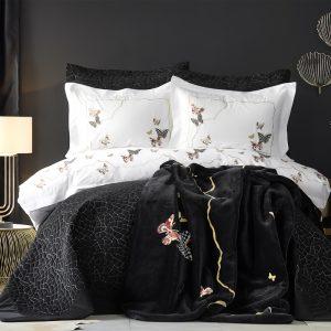 Постельное белье с покрывалом и пледом Karaca Home Unique siyah 2019-2 200×220