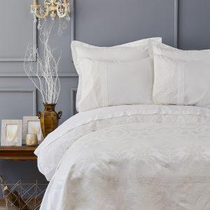купить Постельное белье с покрывалом пике Karaca Home Carla ekru 2019-2 Кремовый фото