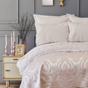 купить Постельное белье с покрывалом пике Karaca Home Carla pudra 2019-2 Розовый фото