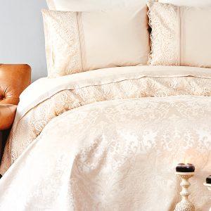 Постельное белье с покрывалом пике Karaca Home Janset bej 2019-2 200×220