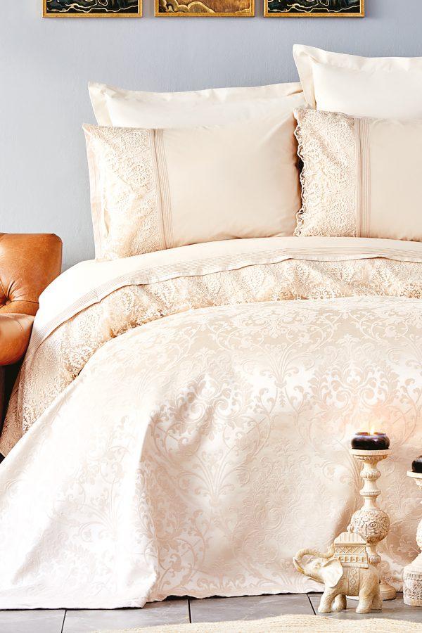 купить Постельное белье с покрывалом пике Karaca Home Janset bej 2019-2 Бежевый|Кремовый фото