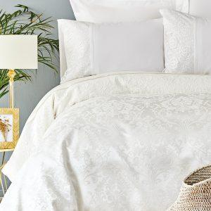Постельное белье с покрывалом пике Karaca Home Janset ekru 2019-2 200×220
