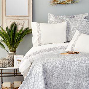Постельное белье с покрывалом Karaca Home Carolina gri 2019-2 200×220