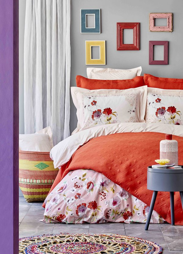 купить Постельное белье с покрывалом Karaca Home Elia pembe 2020-1 Розовый фото