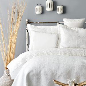 купить Постельное белье с покрывалом Karaca Home Monomia ekru 2019-2 Белый фото