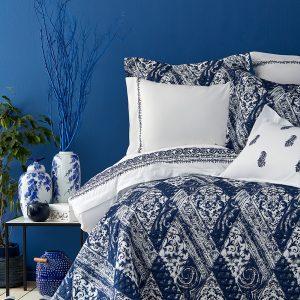 Постельное белье с покрывалом Karaca Home Urla mavi 2019-2 200×220