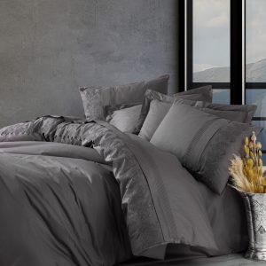 купить Постельное белье Cotton Box Ранфорс с вышивкой Enzo Antrazit Серый фото