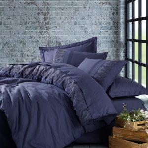 купить Постельное белье Cotton Box Ранфорс с вышивкой Enzo Lacivert Синий фото