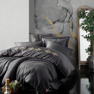 купить Постельное белье Cotton Box Сатин с вышивкой King Antrazit Серый|Черный фото
