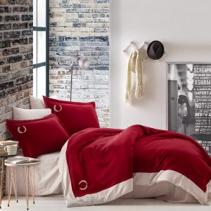 купить Постельное белье Cotton Box Сатин с вышивкой Saha Bordo Красный|Белый фото