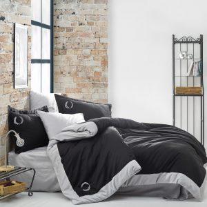 купить Постельное белье Cotton Box Сатин с вышивкой Saha Siyah Черный|Серый фото