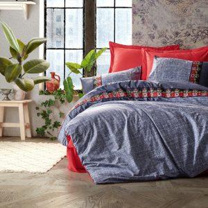 купить Постельное белье Cotton Box Folk Art Lacivert Серый|Красный фото