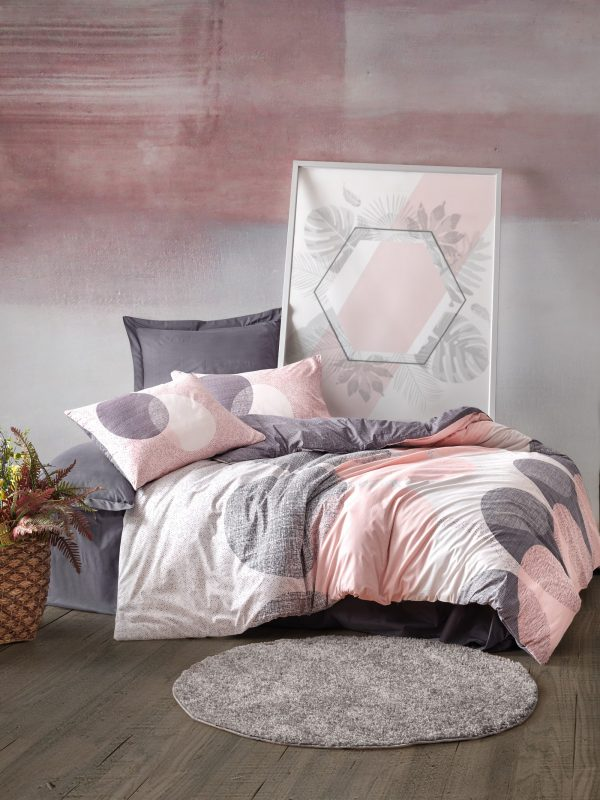 купить Постельное белье Cotton Box Leron Розовый|Серый фото