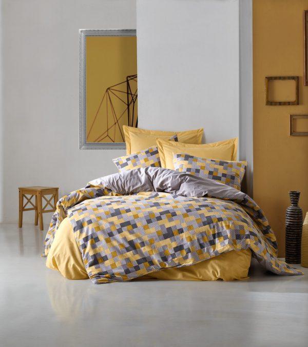 купить Постельное белье Cotton Box Minimal Elon Желтый|Серый фото