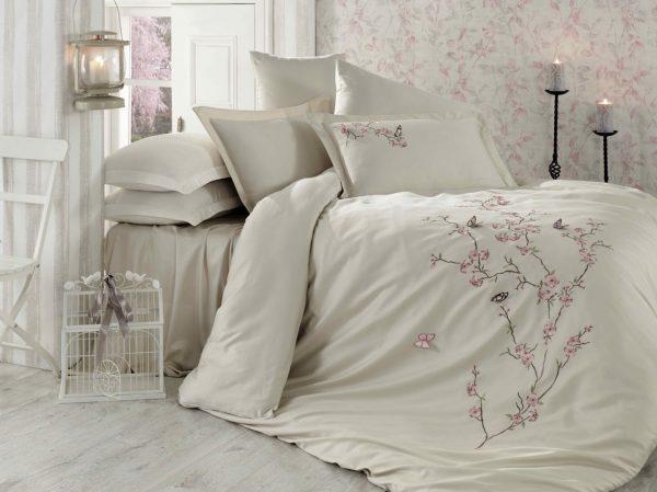 купить Постельное белье Dantela Vita Embroidered Butterfly bej Бежевый фото