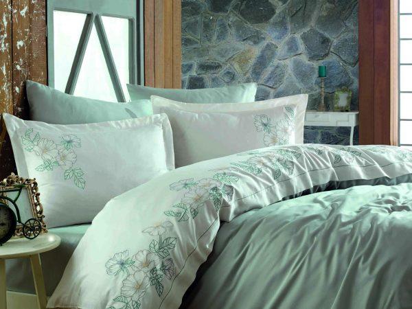 купить Постельное белье Dantela Vita Embroidered Hare Maldiv Ментоловый фото
