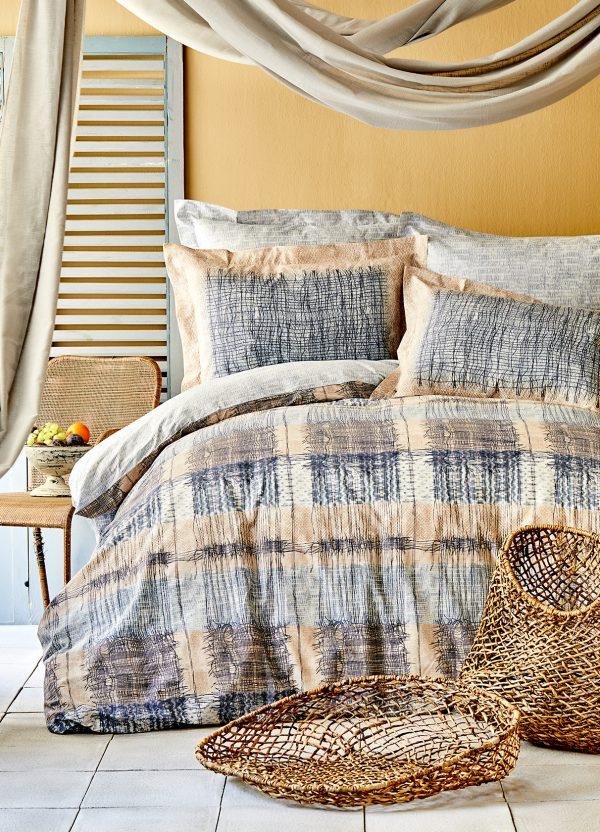 купить Постельное белье Karaca Home ранфорс Atika bej 2020-1 Голубой фото