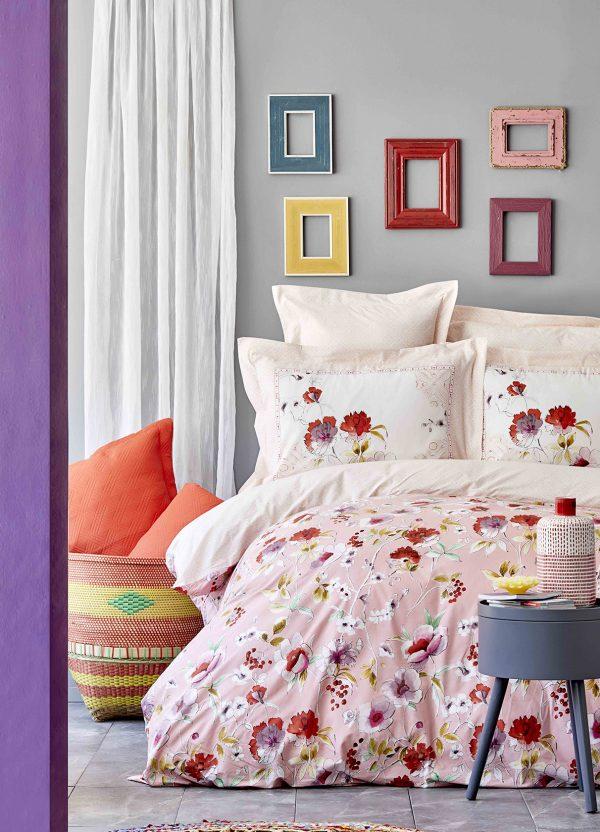 купить Постельное белье Karaca Home ранфорс Elia pembe 2020-1 Розовый фото