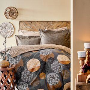 Постельное белье Karaca Home сатин Zoya kahve 2020-1 200×220