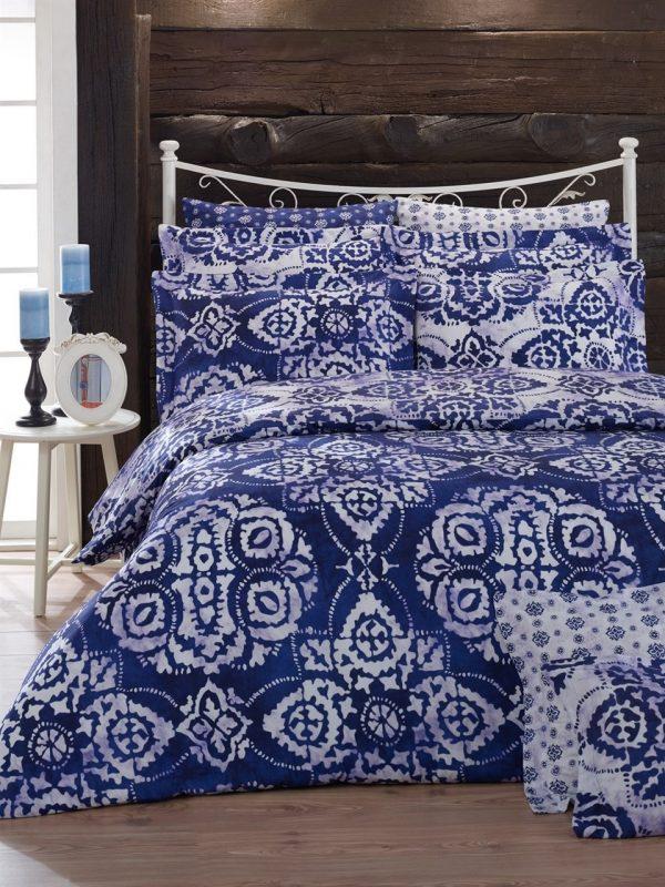 купить Постельное белье Zugo Home ранфорс Balik Синий фото