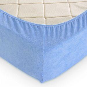 Простынь махровая на резинке Rosella Basic Light Голубая 160×200
