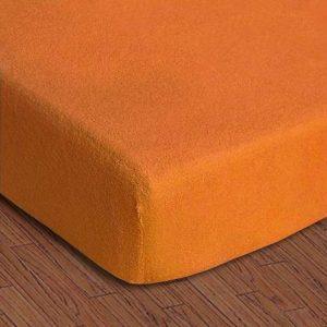 купить Простынь махровая на резинке Rosella Basic Light Оранжевая