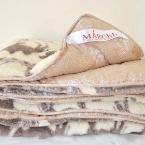 купить Одеяло ТМ Марсель верблюжья шерсть и мех Бежевый фото