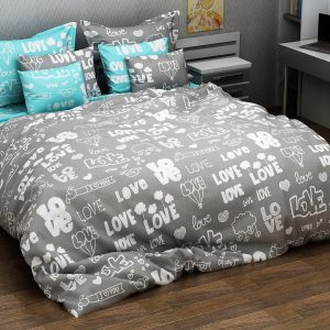 купить Постельное белье Марсель 228 Серый|Бирюзовый фото