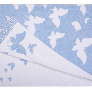 купить Плед хлопковый Love You бабочка голубой