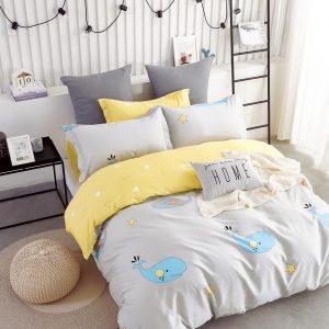 купить Постельное белье Bella Villa Сатин B-0222 Серый|Желтый фото