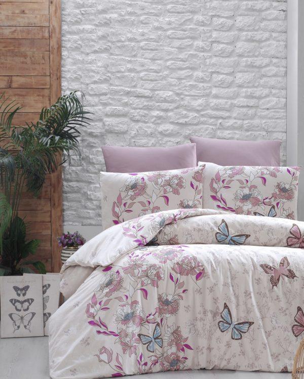 купить Постельное белье First Choice De Luxe ранфорс kelebek pudra Розовый фото