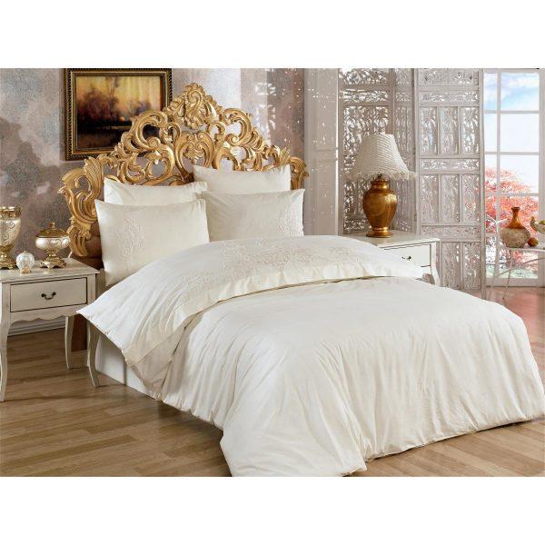 купить Постельное белье Arya сатин с кружевом Angel Кремовый фото
