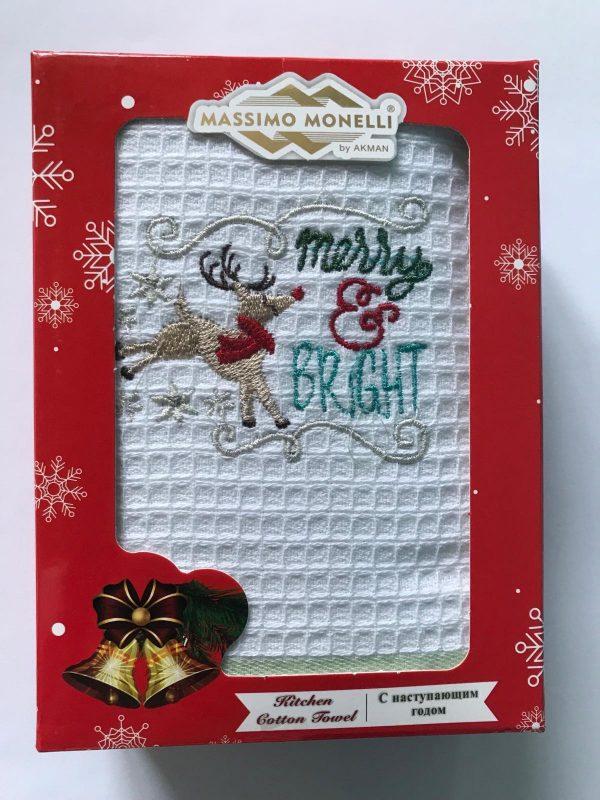 купить Кухонное полотенце Massimo Monelli вафельное Merry and Bright