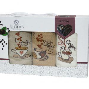 купить Набор кухонных полотенец Nilteks толстая упаковка Coffee 3 шт