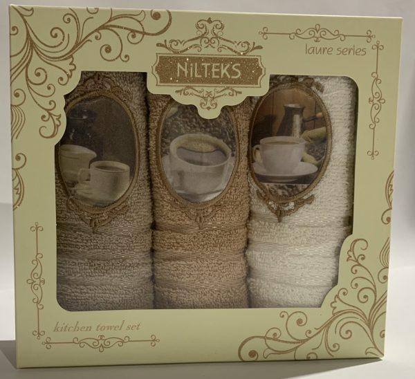 купить Набор кухонных полотенец Nilteks Laure Series 3D Coffee 3 шт