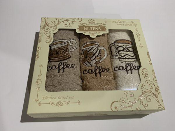 купить Набор кухонных полотенец Nilteks Laure Series Coffee 3 шт