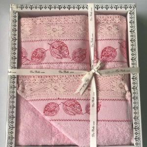купить Набор махровых полотенец Sikel кружево Bella 3 шт розовый