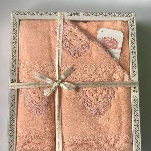 купить Набор махровых полотенец Sikel кружево Love 3 шт персиковый