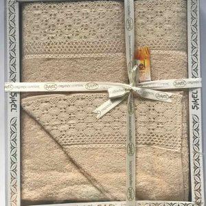 купить Набор махровых полотенец Sikel кружево Soft 3 шт бежевый