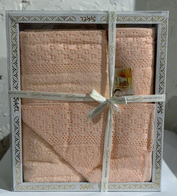 купить Набор махровых полотенец Sikel кружево Soft 3 шт персиковый